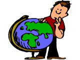 Man pondering a globe of the earth
